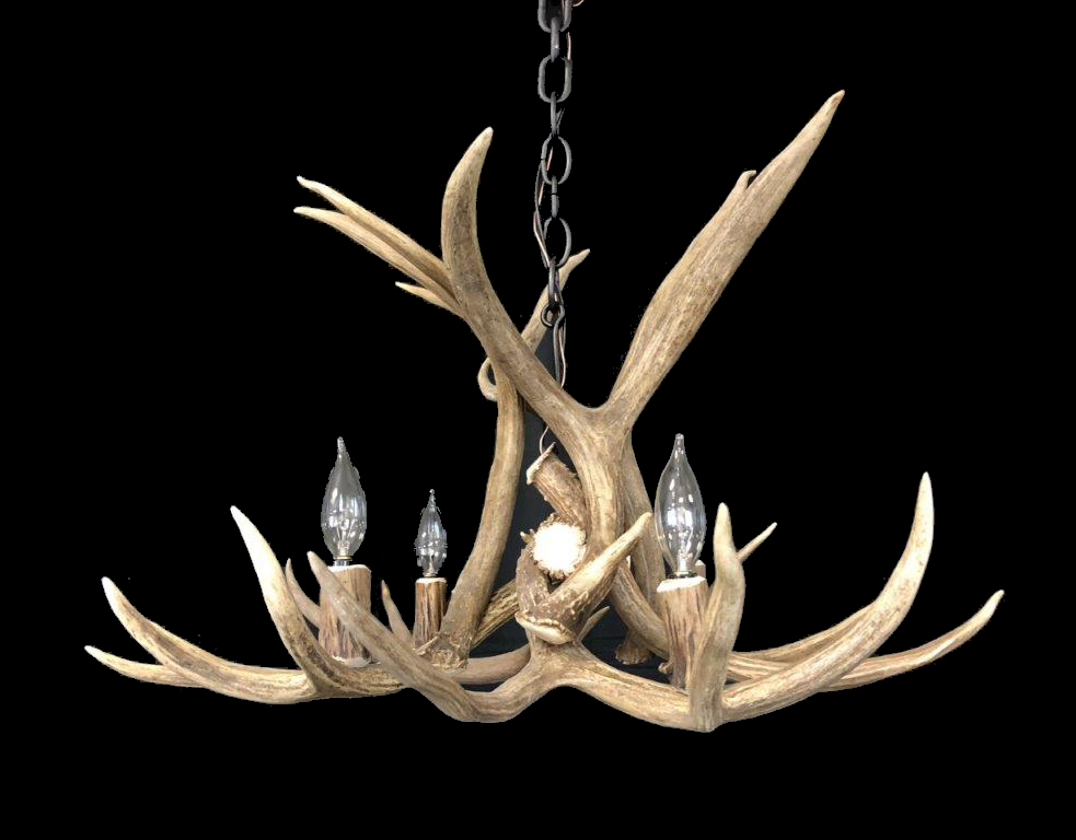 Modern Real Mule Deer Log Cabin Lighting